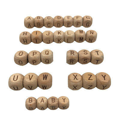 £1.87 • Buy Beads Natural Teething Beech Wooden Toy Letter DIY Cube 5PC 12mm Alphabet Baby