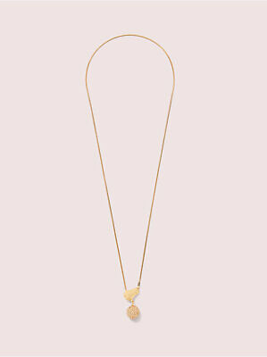 $ CDN88.80 • Buy Kate Spade House Cat Paw Long Necklace Pendant 12K Gold Plated With Jewelry Bag