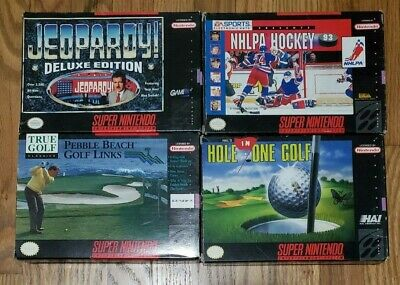 $ CDN34.99 • Buy Lot Super Nintendo SNES Games Jeopardy NHLPA Hockey Pebble Beach Hole One Golf