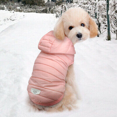 £6.99 • Buy Small Dog Coats For Winter Chihuahua Clothes Pets Cat Coat Jacket Hoodie Pink XS