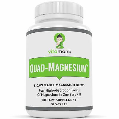 £17.40 • Buy Quad Magnesium Blend Complex W/Glycinate Chelate Orotate Taurate 60ct VitaMonk