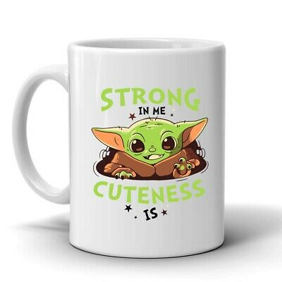 $12.55 • Buy Baby Yoda Strong In Me Cuteness Is 11 Oz Coffee Mug, Star Wars