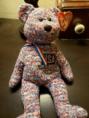 $760 • Buy RARE TY BEANIE BABY USA Bear Red White Blue Bow Year 2000 July 4