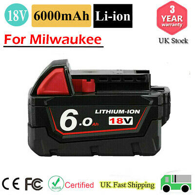 £16.99 • Buy For Milwaukee M18B5 18V 6.0Ah Li-ion Battery - Replace 18Volt Power Tool Battery