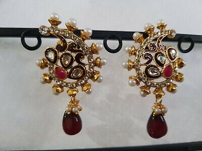 AU9 • Buy INDIAN EARRINGS GOLD PLATED WITH PEARL STUD EARRINGSDifferent Colors Available