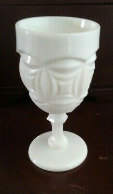 $9.99 • Buy Vintage L.E. Smith White Milk Glass Water Goblet BRISTOL Pattern