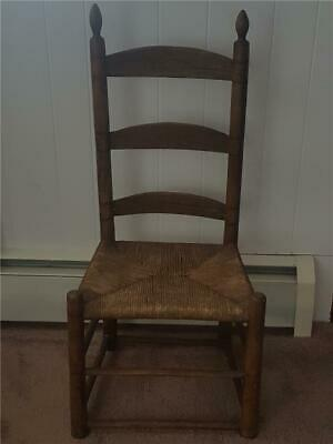 $39 • Buy Antique Dark Wooden Ladder Back Shaker Chair Woven Rush Seat Primitive Spindles