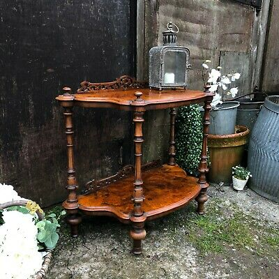 Ornate Antique Vintage 2 Tier Country Chic Walnut Console Table / Bedside Table  • 285£