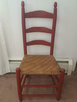 $39 • Buy Antique RED Ladder Back Wooden Chair Woven Wicker Seat Primitive Spindles Rustic