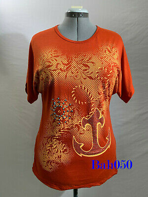 Women's T-shirt With Anchor Design Orange Color Size 18 UK RRP £ 30 • 13.99£