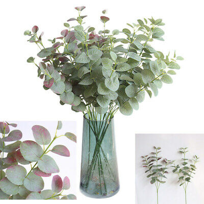 68cm Artificial Eucalyptus Fake Money Leaves Green Plant Leaf Flowers Home Decor • 3.98£