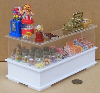 1:12 Scale White Painted Ready To Go Shop Counter With Sweets Tumdee Dolls House • 89£