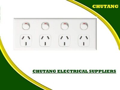 AU16.99 • Buy Quad Power Point 4 Gang Socket Outlet 10A SAA GPO Double 10AMP