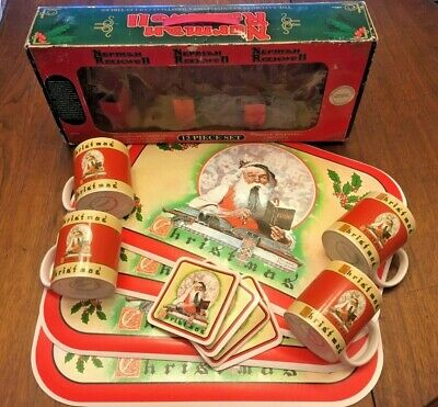 $ CDN47.39 • Buy Norman Rockwell SANTA Mugs Coasters Placemats Saturday Evening Post 12p-set RARE