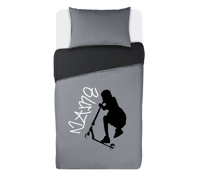 STUNT SCOOTER Personalised GREY & BLACK Duvet Cover Bedding Set SINGLE OR DOUBLE • 34.99£