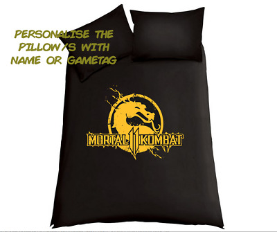 MORTAL KOMBAT 11 Personalised Black Duvet Cover/Bedding Set PS4/XBox One Gaming • 34.99£
