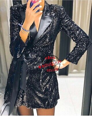$129 • Buy Zara New Woman Short Mini Sequin Blazer Dress Satiny Bow Black Xs-xl 8809/860