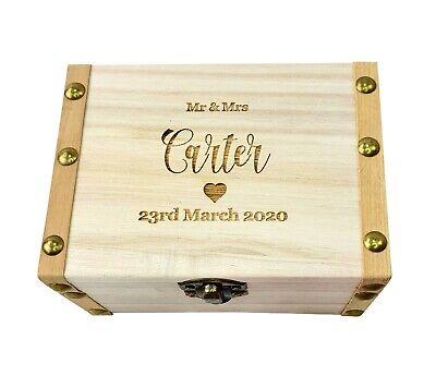 Personalised Wedding Ring Wooden Box  Mini Chest Engraved Trinket Gift Heart • 11.95£