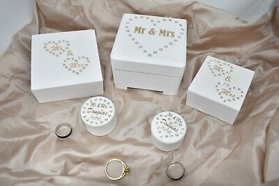Personalised Wedding Engagement Wooden Ring Box Gift For Rings Engraved Crystals • 9.29£