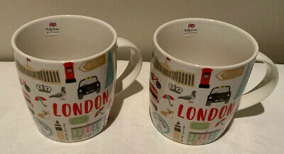 New With Tags TWO Bone China London 14 Oz Mugs By British Designer Milly Green • 17.99£