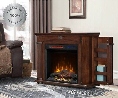 $264.86 • Buy Electric Fireplace Heater Blower Mantel LED Flame Cherry Wood Shelves Portable