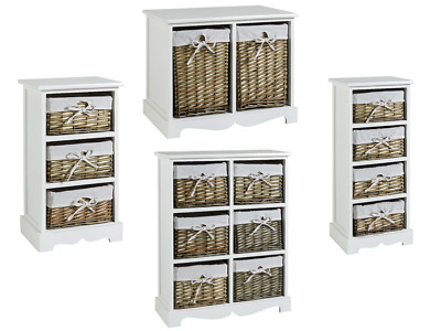 White Wooden Chest Of Drawers Storage Unit Willow Wicker Baskets Organisers • 59.99£