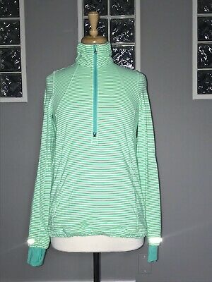 $ CDN52.20 • Buy Lululemon Forthright 1/2 Zip Pullover 6 Bali Breeze 1/8 Stripe Long Sleeve Rulu