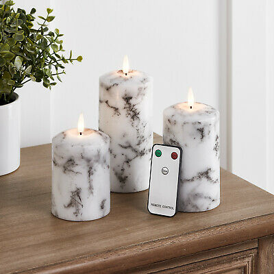 Set Of 3 Battery LED Flameless Marble Pillar Candles TruGlow™  6h Timer Remote  • 27.99£