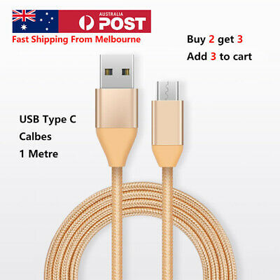 AU4.99 • Buy Braided USB Type C Cable Data & Charger Cable For Samsung Google Huawei 1.0M