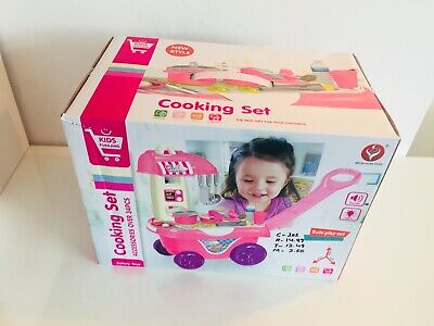 Children Kitchen Style Trolley With Over 34 Accessories Cooking Set XMAS GIFT  • 19.99£
