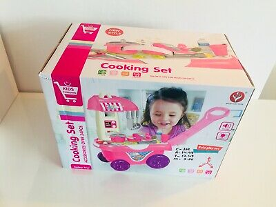 Children Kitchen Trolley With Over 34 Accessories Cooking Set XMAS GIFT 50% Sale • 12.99£