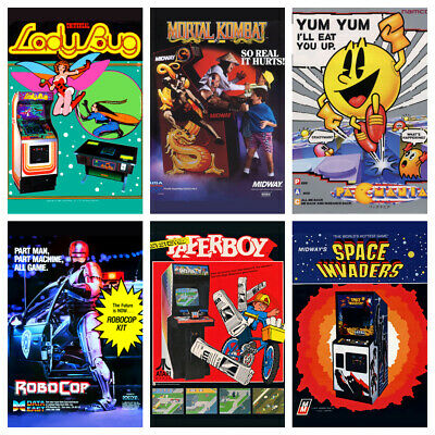 £4.99 • Buy ARCADE GAME POSTERS Vintage Retro Game Room Flyers Decor Wall Kids Gaming