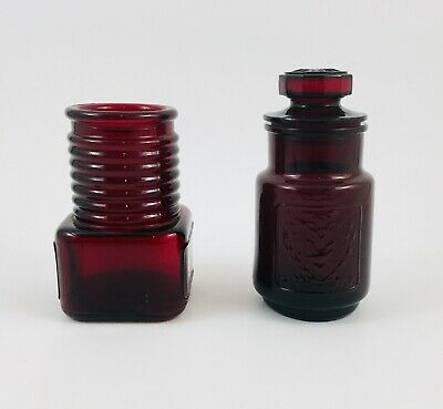 $18.50 • Buy Vintage Wheaton Glass Bottles Ruby Red Canister Jar W Lid And Ribbed