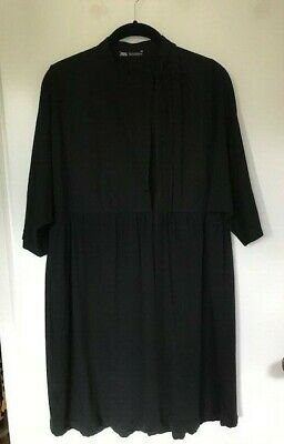 $14 • Buy NWOT Zara Black Dress/ Sz Small /Cotton Woven+Knit 3/4 Dolman Sleeve / Free Ship