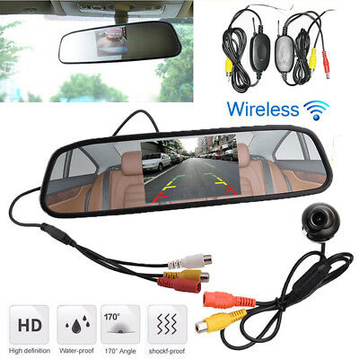 $76.99 • Buy Wireless Car Rotatable Camera + Rearview Mirror Display Monitor 4.3  LCD Screen