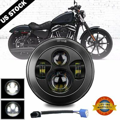 $28.49 • Buy 7  Inch 300W LED Headlight Hi Lo Black For Harley Honda Yamaha Ducati Motorcycle