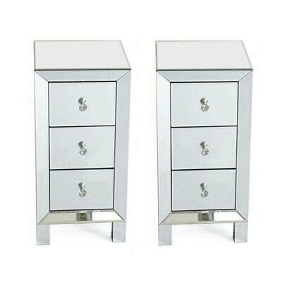 £159.95 • Buy 2X Glass Mirrored Bedroom Bedside Table Crystal Side Drawer Storage Cabinet UK