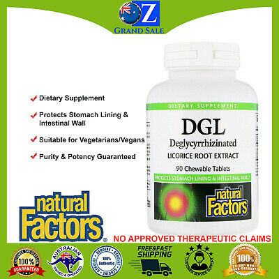 AU26 • Buy Natural Factors DGL Deglycyrrhizinated Licorice Root Extract 90 Chewable Tabs