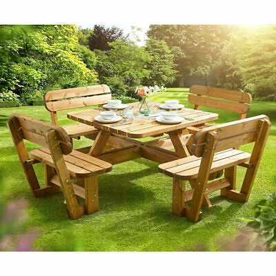 £660.39 • Buy 8 Seater Garden Pine Wood Sturdy Picnic Table & Bench Durable Traditional Design