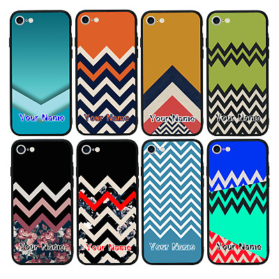 Personalised Chevron Block Name Glass Case For IPhone 6 6s 7 8 PLUS X XS MAX XR • 7.99£