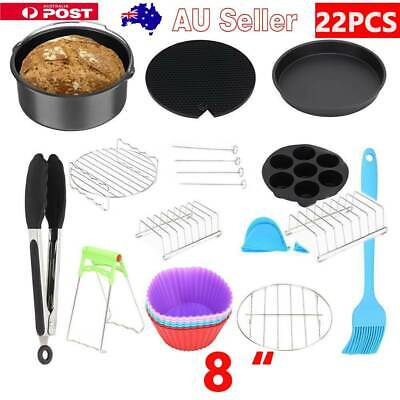 AU18.79 • Buy 8  Air Fryer 22PCS Accessories Frying Cage Dish Baking Pan Rack Pizza Tray Pot