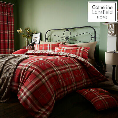 Catherine Lansfield Duvet Covers Kelso Red Classic Tartan Check Bedding Range • 31.99£