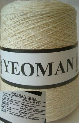 Yeoman Yarn 400g 4ply Cotton Hand Knitting Machine Ecru Y216.02 • 12.45£
