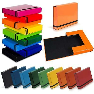 Coloured A4 Box File Storage Hard Coated Document Paper Archive Folder Elastic • 6.40£