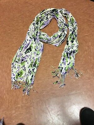 $0.99 • Buy Multi Color Floral Fringe Fashion Scarf - Great All Year For Accessorizing
