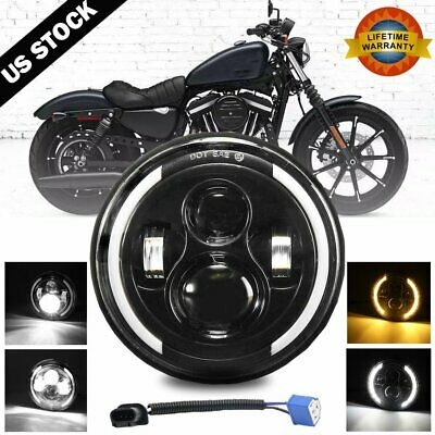 $29.99 • Buy 7  Inch LED Headlight DRL Angel Eyes For Harley-Davidson Honda Yamaha Motorcycle