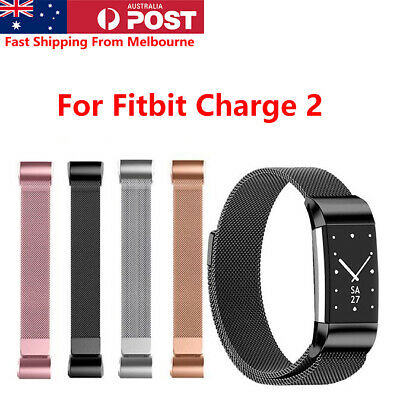 AU11.95 • Buy For Fitbit Charge 2 Band Milanese Loop Metal Wristband With Magnetic Buckle