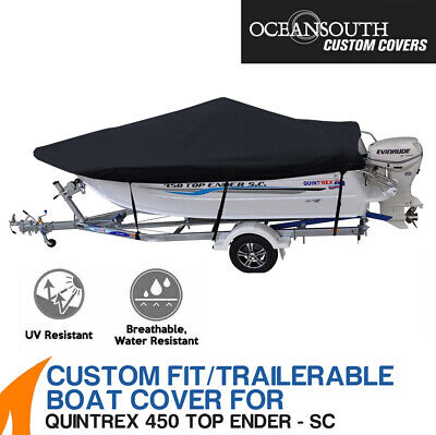 AU276 • Buy Oceansouth Custom Fit Boat Cover For Quintrex 450 Top Ender Side Console
