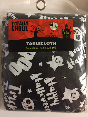 $4.99 • Buy Choose One Halloween Party Table Cover-Black With Ghosts And Skulls- Vinyl