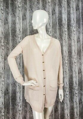 NWT By Ti Mo Oslo-Norway Fine Knit Cardigan Bow Buttons Latte Size S • 19.99£